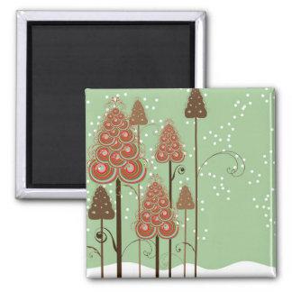 Whimsical Christmas Trees Gift / Favor Magnet