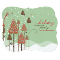 Whimsical Christmas Trees Holiday Party Invitation