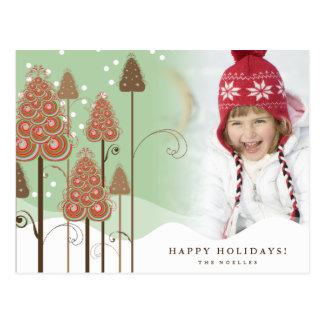 Whimsical Christmas Trees Holiday Photo Postcard