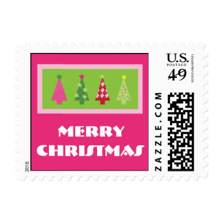 Whimsical Christmas Trees Holiday Postage (pink)