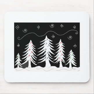 Whimsical Christmas Trees in Black and White Mouse Pad