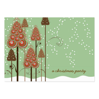Whimsical Christmas Trees Mini Invite / Thank You/ Business Card Templates