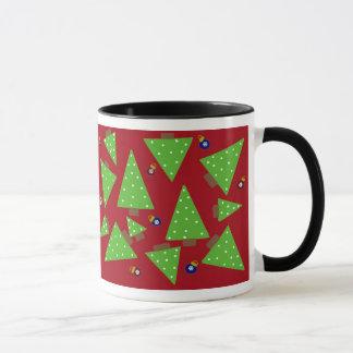 Whimsical Christmas Trees on a Red Background Mug