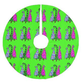 Whimsical Christmas Trees On Lime Green Tree Skirt