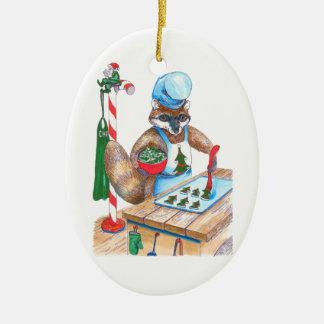 Whimsical Christmas Wildlife Chef Oval Ornament
