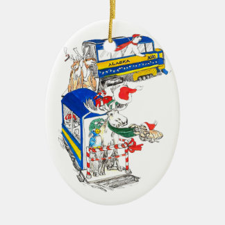Whimsical Christmas Wildlife Train Tree Ornament