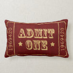 "Whimsical Circus Theatre Ticket Admit One Lumbar Pillow<br><div class=""desc"">Vintage Americana Circus Ticket Admit One in Rustic Red</div>"
