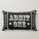 "Whimsical Circus Theatre Ticket Admit One Lumbar Pillow<br><div class=""desc"">Circus Theatre Ticket Admit One design in Black and White. Step right up! This whimsical nostalgic design will be a perfect addition to your theatre or game room.  Additional colors available.</div>"
