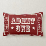 Whimsical Circus Theatre Ticket Admit One Pillow