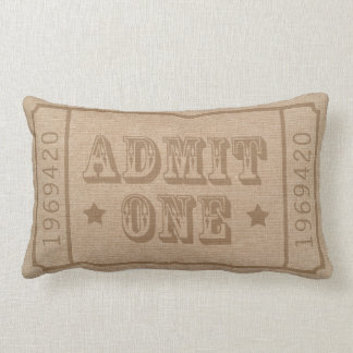 Whimsical Circus Theatre Ticket Admit One Throw Pillow