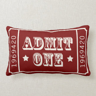 Whimsical Circus Theatre Ticket Admit One Throw Pillows