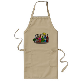 Whimsical City Scene Bottles Red Truck Apron