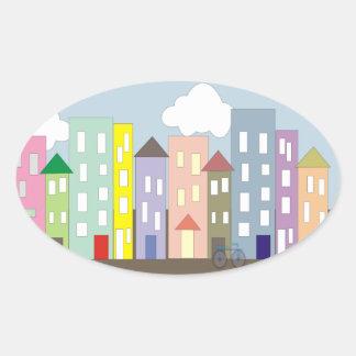 Whimsical City Street Scene Oval Sticker