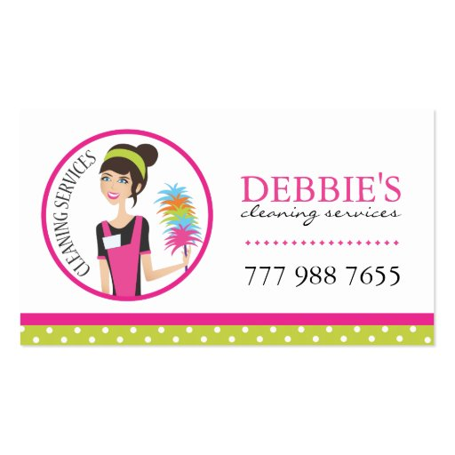 Whimsical Cleaning Services Business Cards Zazzle