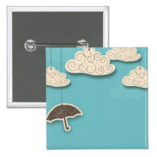 Whimsical Cloudy Sky and Umbrella Button
