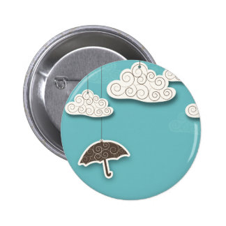 Whimsical Cloudy Sky and Umbrella Pin