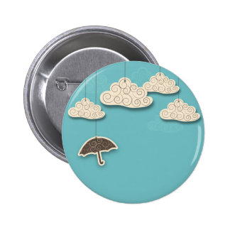 Whimsical Cloudy Sky and Umbrella Pinback Buttons
