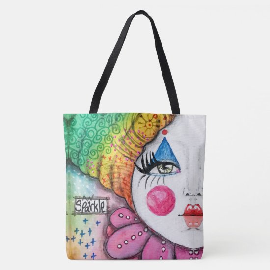 Whimsical Clown Colorful Rainbow Ombre Gradient Tote Bag