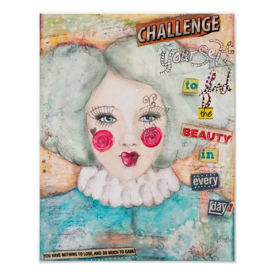 Whimsical Clown Girl Vintage Look Pastel Blue Mint Poster