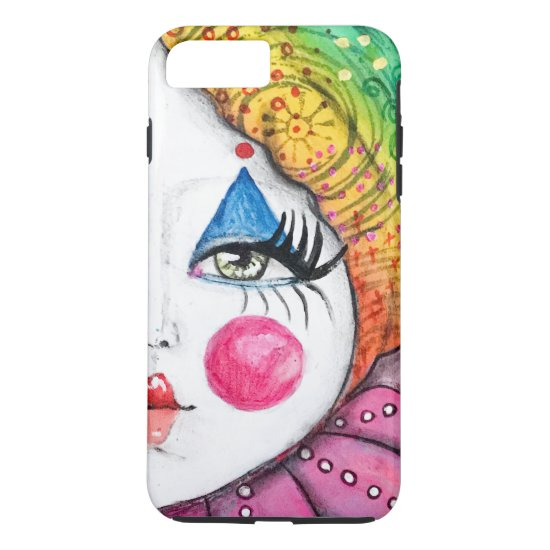 Whimsical Clown Painting Colorful Rainbow Cute Fun iPhone 8 Plus/7 Plus Case