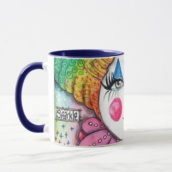 Whimsical Clown Painting Colorful Rainbow Sparkle Mug