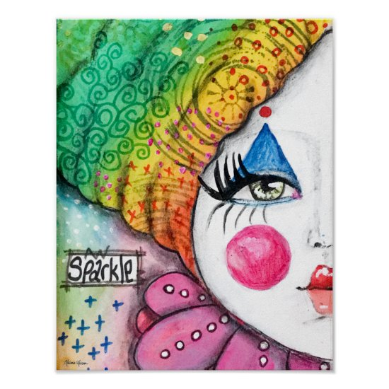 Whimsical Clown Painting Colorful Rainbow Sparkle Poster
