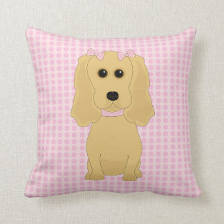 Whimsical Cocker Spaniel Dog Art Throw Pillow