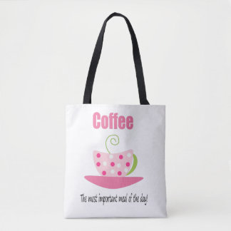 Whimsical Coffee Tote with Polka Dots