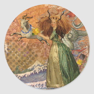 Whimsical Collage Capricorn Woman mixed media Classic Round Sticker