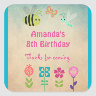 Whimsical Collection of Flowers and Bugs Birthday Square Sticker