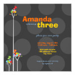 Whimsical Color Dots Birds Tree Kids 3rd Birthday Personalized Announcements
