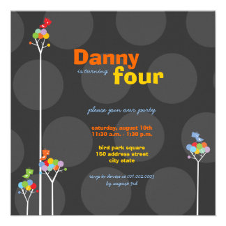 Whimsical Color Dots Birds Tree Kids 4th Birthday Invitations