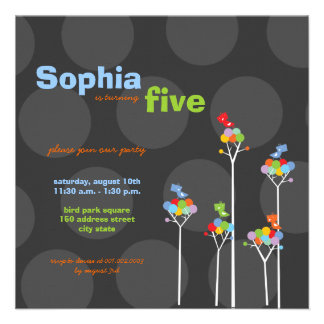 Whimsical Color Dots Birds Tree Kids 5th Birthday Invitations