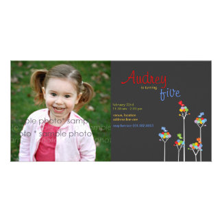 Whimsical Color Dots Birds Tree Kids 5th Birthday Personalized Photo Card