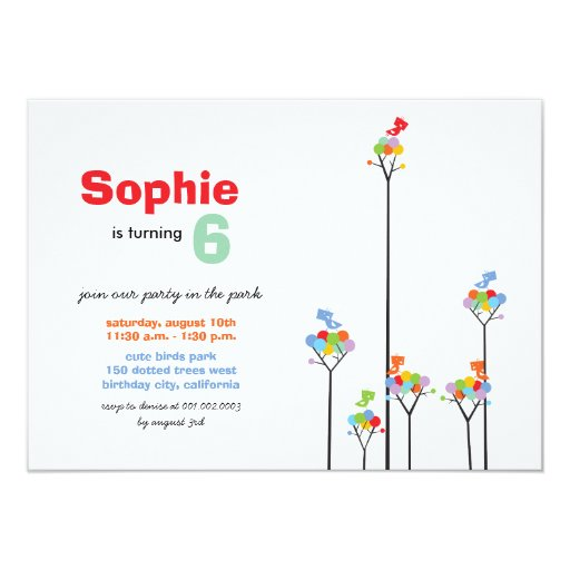 Whimsical Color Dots Birds Tree Kids 6th Birthday Card
