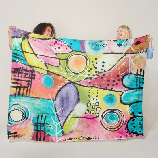 Whimsical Colorful Abstract Artistic Aqua Pink Fun Fleece Blanket