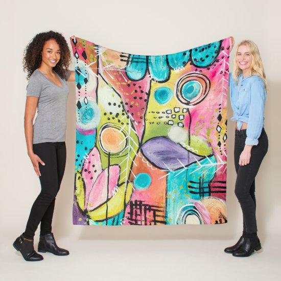 Whimsical Colorful Abstract Artistic Aqua Purple Fleece Blanket