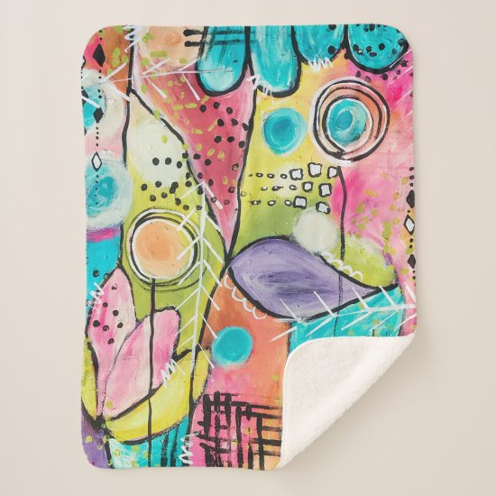 Whimsical Colorful Abstract Artistic Aqua Purple Sherpa Blanket