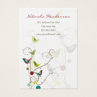 Whimsical Colorful Birds Swirls Cute Business Card