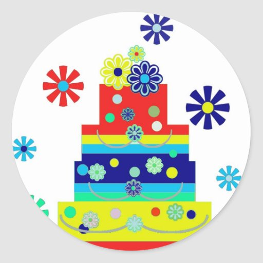 Whimsical Colorful Birthday Cake Design Stickers