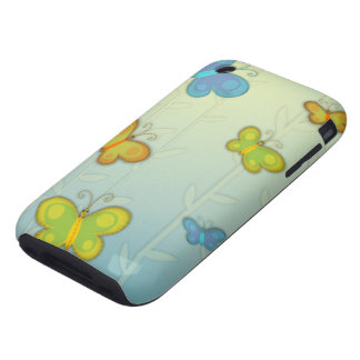 whimsical colorful butterfliles background iPhone 3 tough case