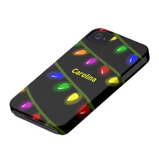 Whimsical Colorful Christmas Lights Custom Name Case-Mate iPhone 4 Cases