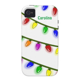 Whimsical Colorful Christmas Lights Custom Name iPhone 4/4S Covers