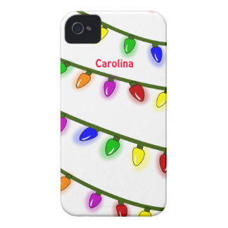 Whimsical Colorful Christmas Lights Custom Name iPhone 4 Case-Mate Cases
