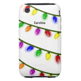 Whimsical Colorful Christmas Lights Custom Name Tough iPhone 3 Case