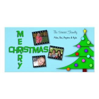 Whimsical Colorful Christmas Tree Triple Photos Card