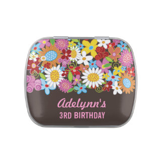 Whimsical Colorful Cute Spring Flowers Party Favor Jelly Belly Tins