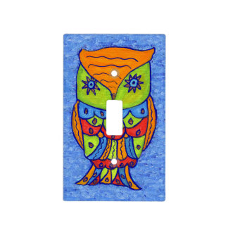 Whimsical Colorful Fantasy Owl Light Switch Plates