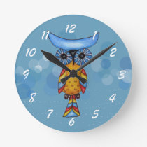 Whimsical Colorful Fantasy Owl Round Clock