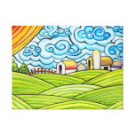 Whimsical Colorful Farm Stretched Canvas Print